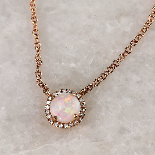 Opal Necklace in Rose Gold