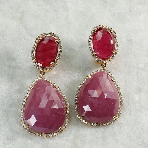 Pink & Red Sapphire Earrings