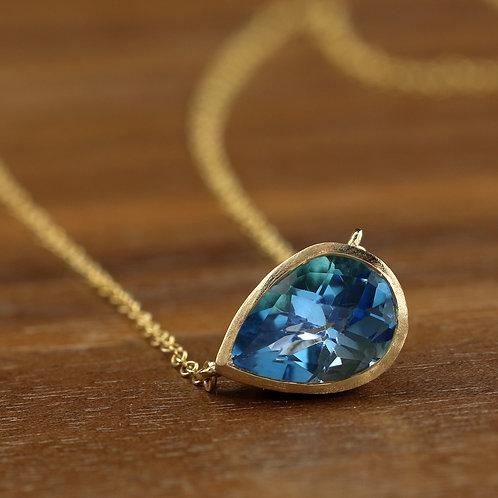 Pear Blue Topaz Necklace