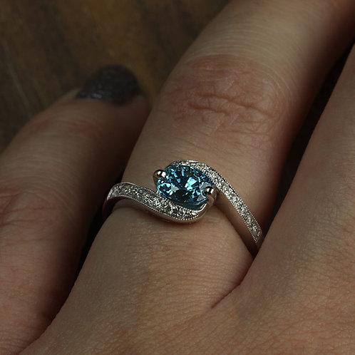 Blue Zircon Bypass Ring