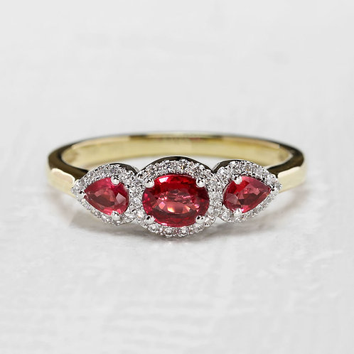 Pear Ruby Halo Ring