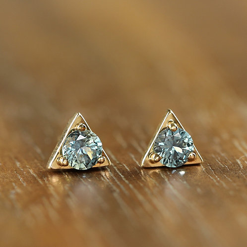 Montana Sapphire Triangle Studs