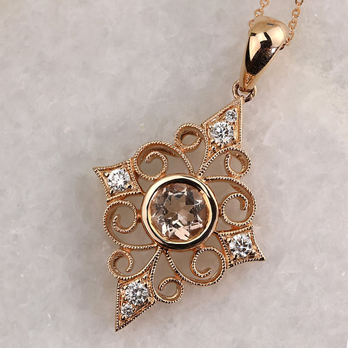 Morganite Scroll Pendant