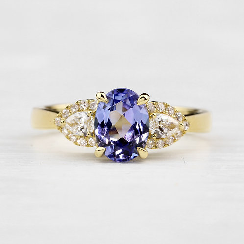 Tanzanite Pear Accent Ring