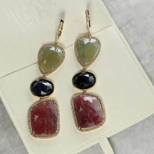 Multicolored Sapphire Earrings