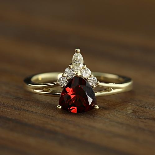 Trillion Garnet Ring