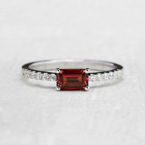 Baguette Garnet Ring