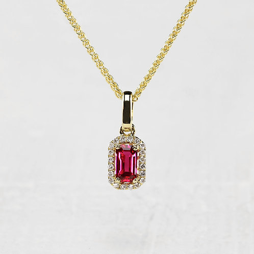 Ruby Pendant with Halo