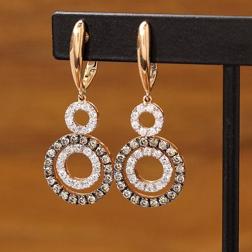 Rose Gold & Brown Diamond Dangles