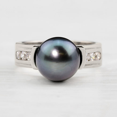 Diamond Channel Pearl Ring