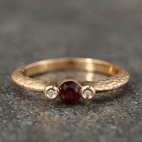 Textured Garnet Ring