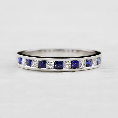 Princess Cut Sapphire & Diamond Band