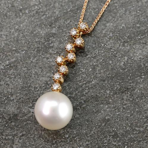 Pearl & Scattered Diamond Pendant