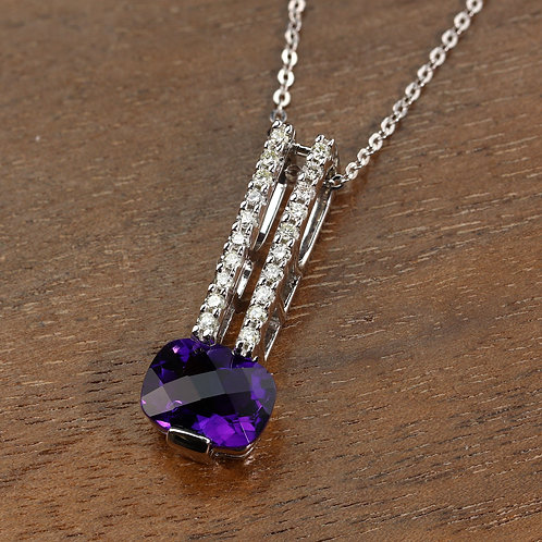 Diamond & Amethyst Pendant