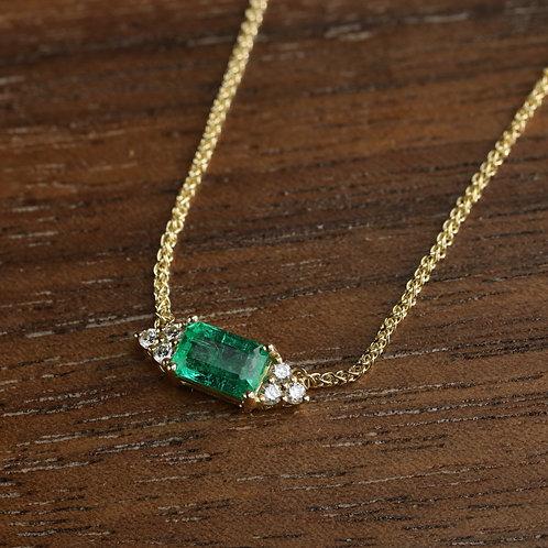 Diamond Accented Emerald Necklace
