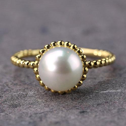 Beaded Pearl Ring