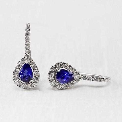 Pear Sapphire & Diamond Leverbacks