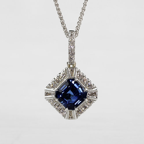 Milgrain Detail Sapphire Pendant
