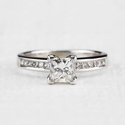 Milgrain Princess Cut Ring