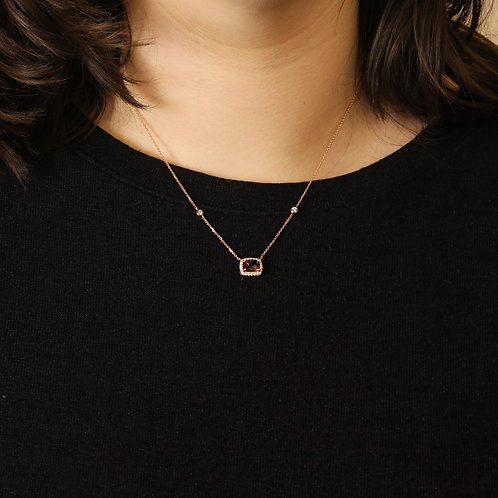 Garnet Halo Necklace