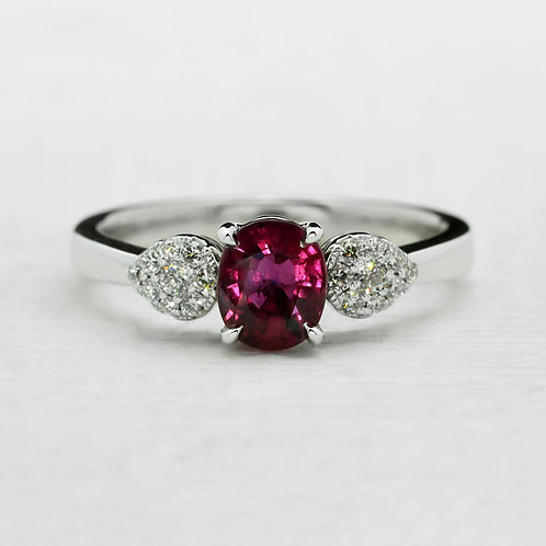 Ruby Pavé Pear Accent Ring