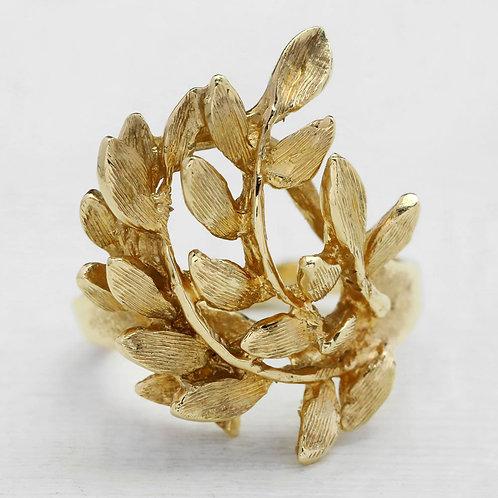 Brushed Leaf Style Ring