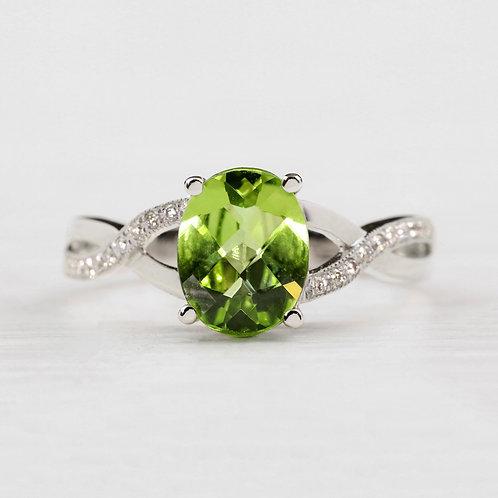Twisted Peridot Ring