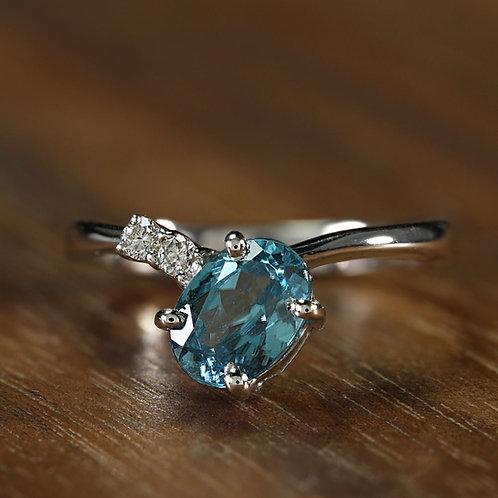 Asymmetrical Blue Zircon Ring