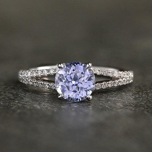 Blue Gray Sapphire Ring