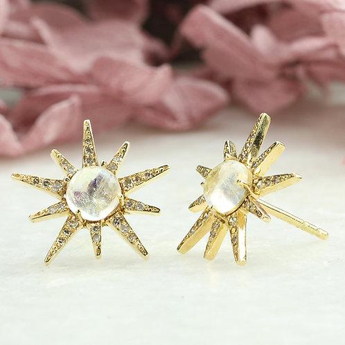 Moonstone Starburst Earrings