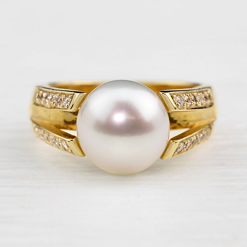 Split Shank Pearl Ring