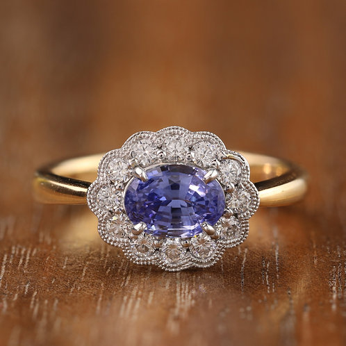 Buttercup Halo Sapphire Ring