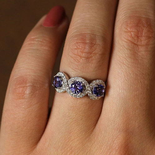 Triple Halo Tanzanite Ring