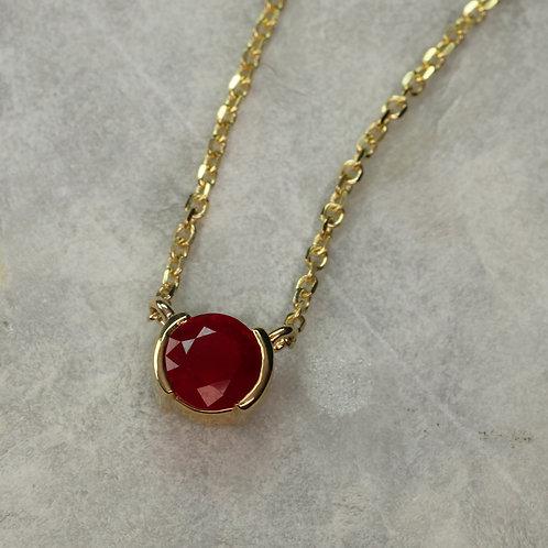 Half Bezel Ruby Necklace