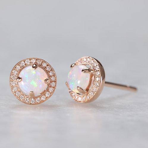 Opal Earrings in Rose Gold