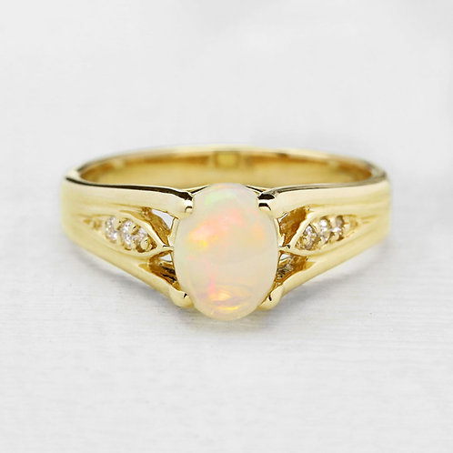Diamond Accent Opal Ring