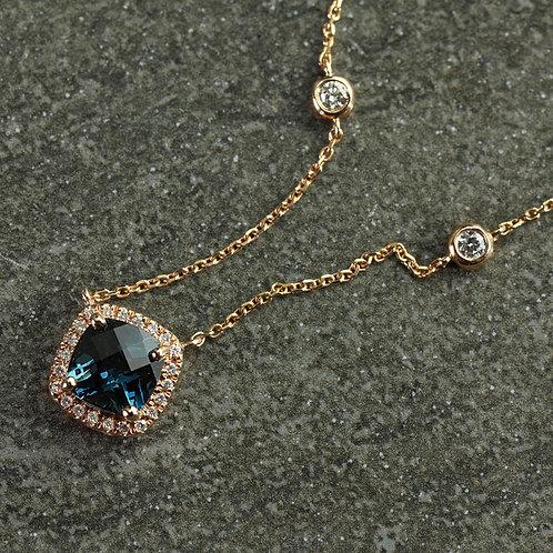 Rose Gold London Blue Topaz Necklace