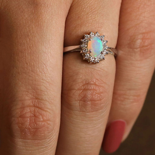 Crown Halo Opal Ring