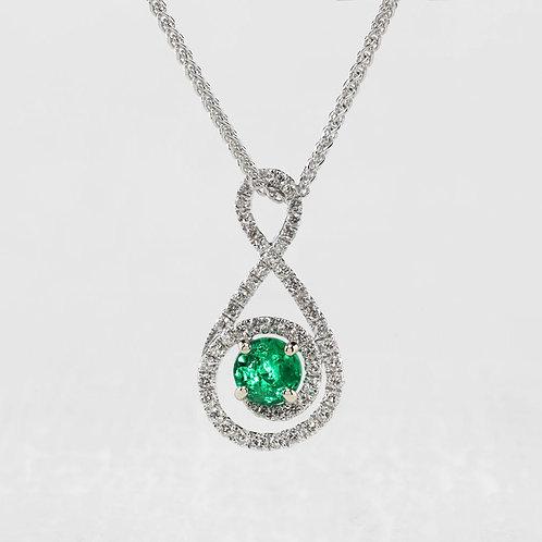 Swirl Emerald Halo Pendant