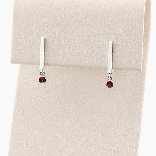 Garnet Bar Earrings