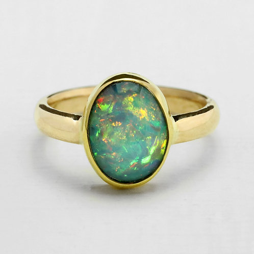 Small Oval Ethiopian Opal Ring