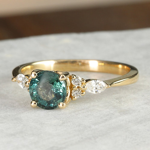 Teal Montana Sapphire Engagement Ring