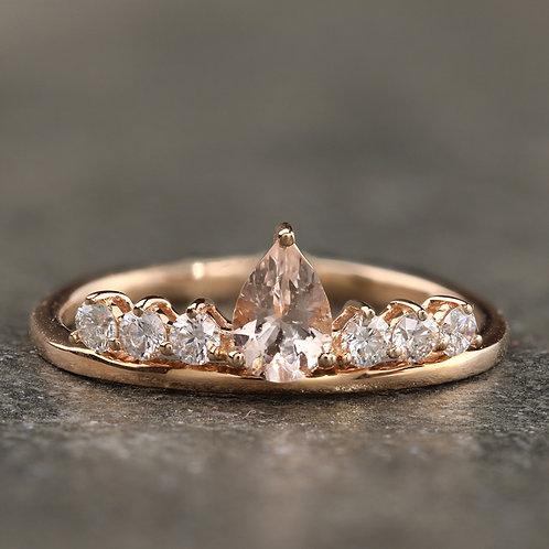 Morganite Crown Ring