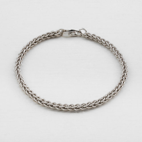 White Gold Textured Bracelet