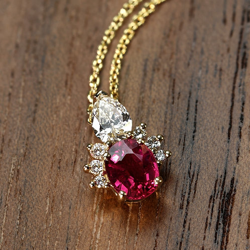 Ruby Pendant with Diamond Accents