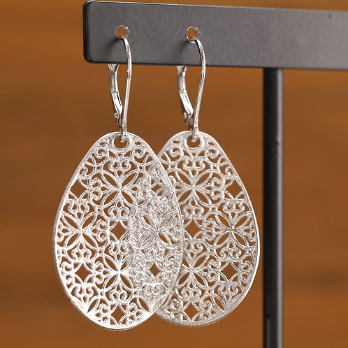White Gold Lace Dangles