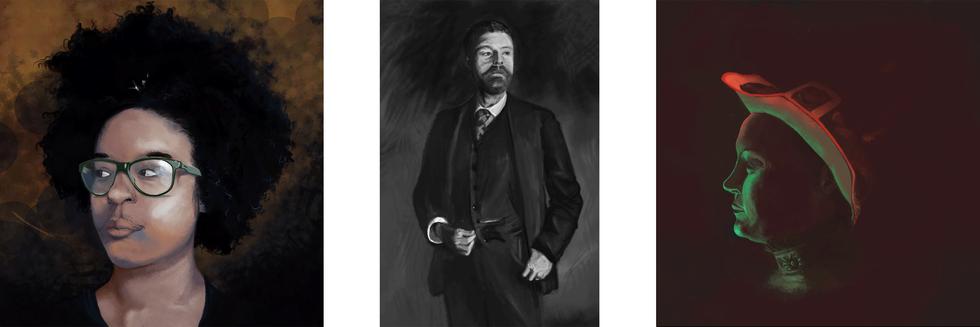 Self Portrait, Master Copy, and Portrait Study, respectively