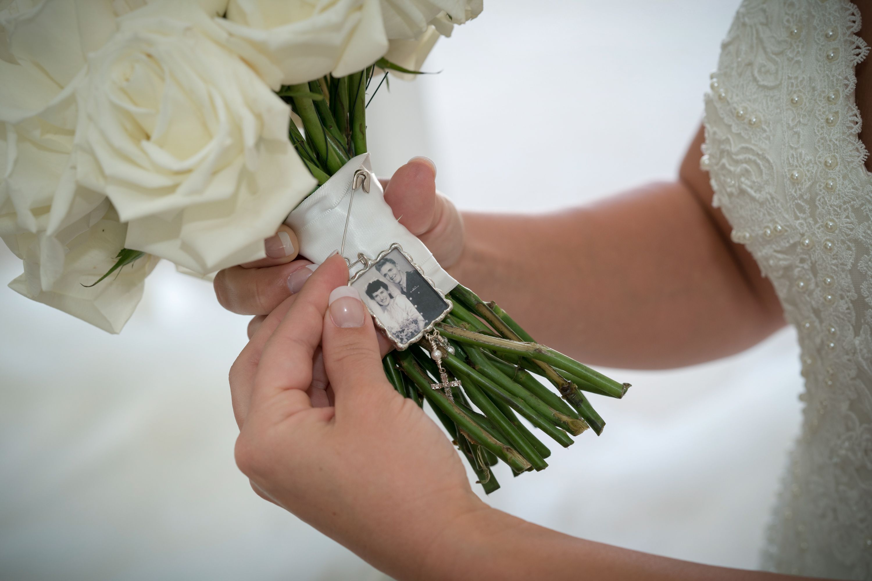 Bride looking at memory charm