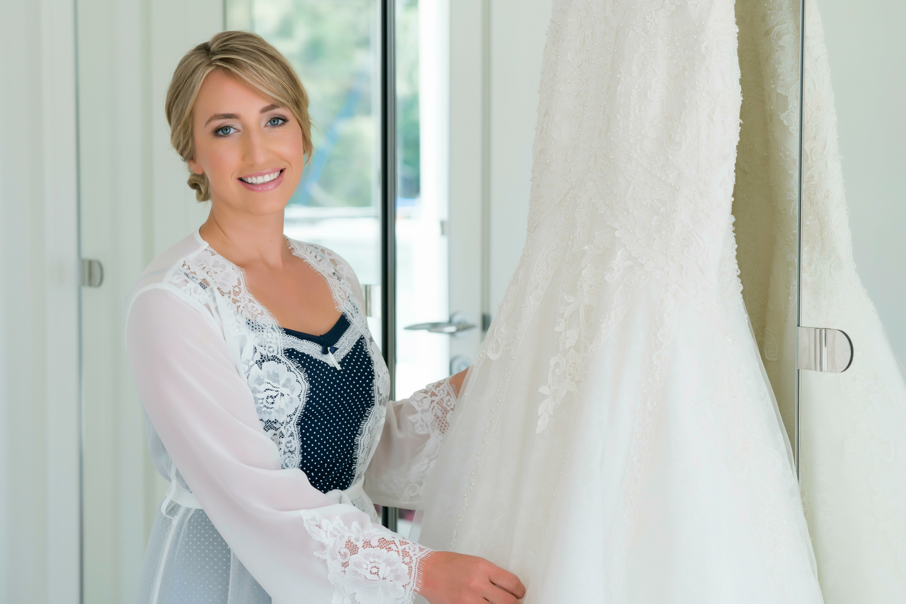 Bride and her wedding dress