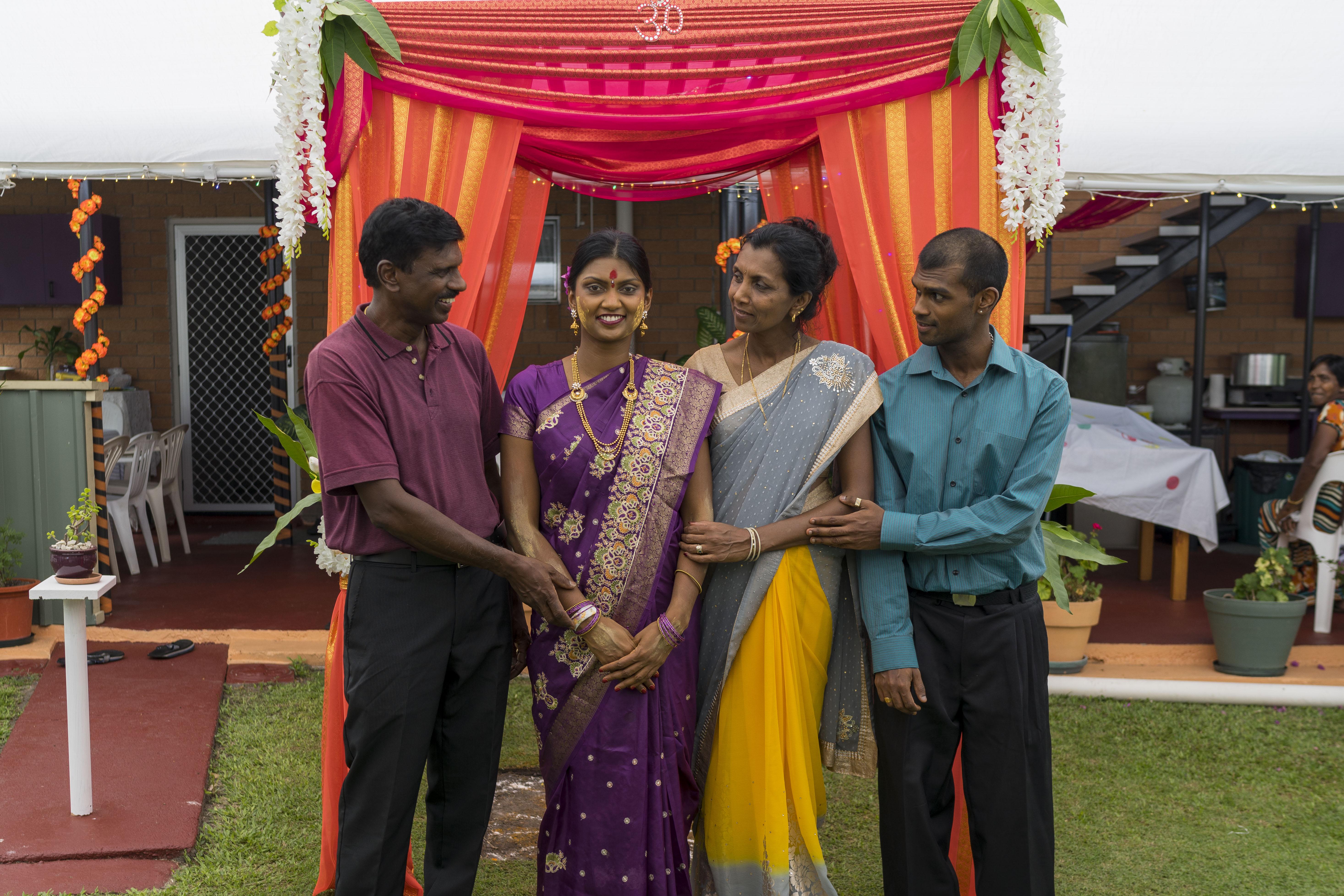 Hindu bride and family
